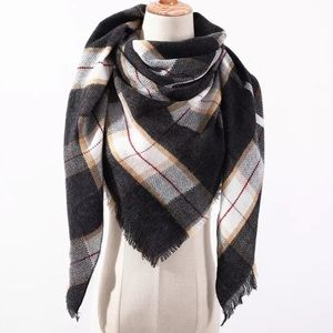 Black Plaid Oversized Triangle Scarf
